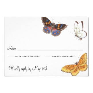 Tarjeta de RSVP de la mariposa Invitación 8,9 X 12,7 Cm