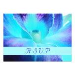 Tarjeta de RSVP de la orquídea azul Comunicados