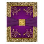 Tarjeta de RSVP de la púrpura real y del oro Invitación 10,8 X 13,9 Cm