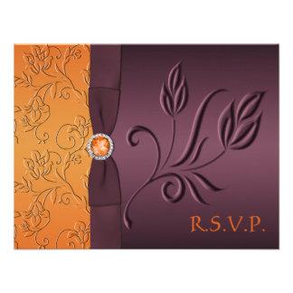 Tarjeta de RSVP de la púrpura y de la mandarina Anuncios
