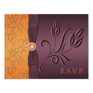 "Tarjeta de RSVP de la púrpura y de la mandarina Invitación 4.25"" X 5.5"""