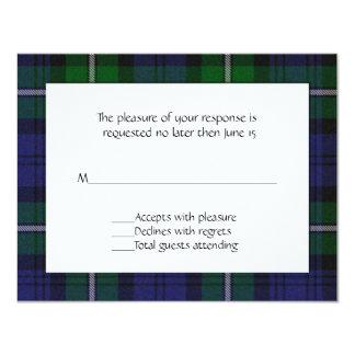 """Tarjeta de RSVP de la tela escocesa de Forbes Invitación 4.25"""" X 5.5"""""""
