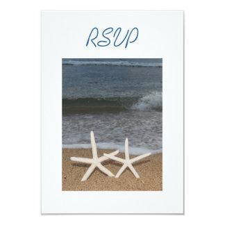 """Tarjeta de RSVP de las estrellas de mar del dedo Invitación 3.5"""" X 5"""""""
