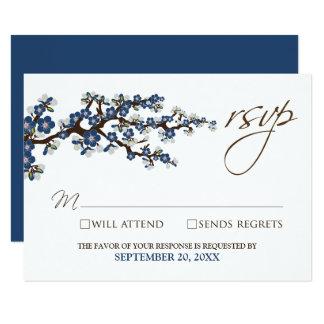 """Tarjeta de RSVP de las flores de cerezo (azules Invitación 3.5"""" X 5"""""""