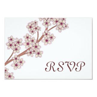 Tarjeta de RSVP de las flores de cerezo Invitación 8,9 X 12,7 Cm