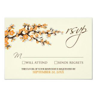 """Tarjeta de RSVP de las flores de cerezo (naranja) Invitación 3.5"""" X 5"""""""
