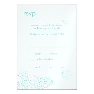 """Tarjeta de RSVP de las ondas que remolina - azul Invitación 3.5"""" X 5"""""""