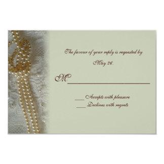 Tarjeta de RSVP de las perlas y del cordón Anuncio
