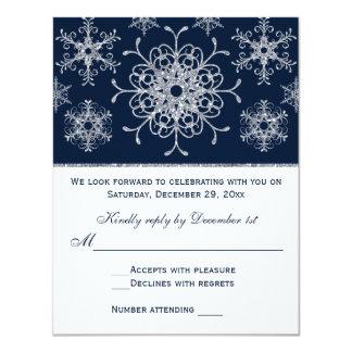 """Tarjeta de RSVP de los copos de nieve de la MIRADA Invitación 4.25"""" X 5.5"""""""