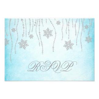 Tarjeta de RSVP de los copos de nieve del diamante Comunicados Personales
