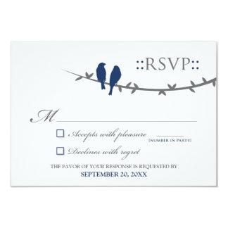 """Tarjeta de RSVP de los pájaros del amor (azules Invitación 3.5"""" X 5"""""""