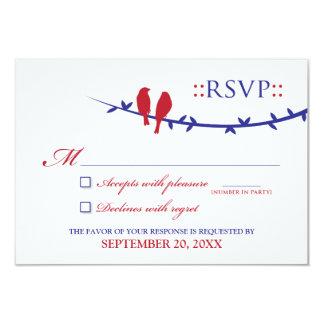 """Tarjeta de RSVP de los pájaros del amor (rojo y Invitación 3.5"""" X 5"""""""