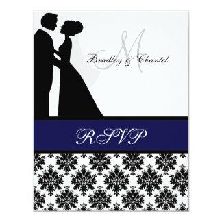 Tarjeta de RSVP de los pares del boda del negro y Invitación 10,8 X 13,9 Cm