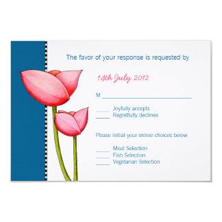 Tarjeta de RSVP del azul 2 simples de las flores Invitación 8,9 X 12,7 Cm