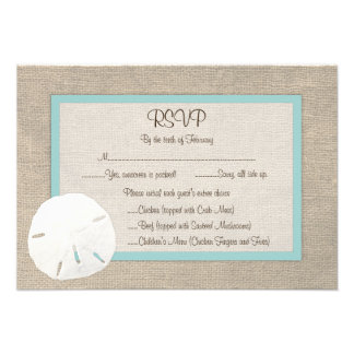 Tarjeta de RSVP del boda de playa del dólar de are Comunicado