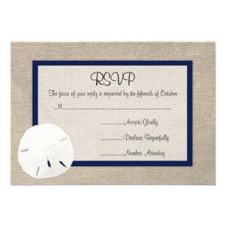 Tarjeta de RSVP del boda de playa del dólar de are Invitación