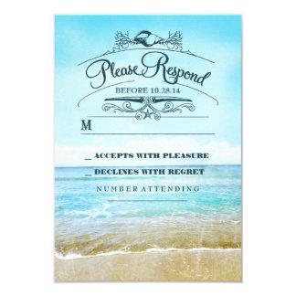Tarjeta de RSVP del boda de playa Invitación 8,9 X 12,7 Cm