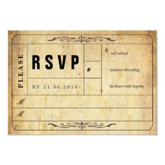 """Tarjeta de RSVP del boleto del boda del vintage Invitación 3.5"""" X 5"""""""