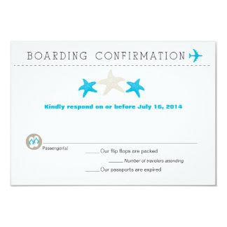 Tarjeta de RSVP del documento de embarque de las Invitaciones Personalizada