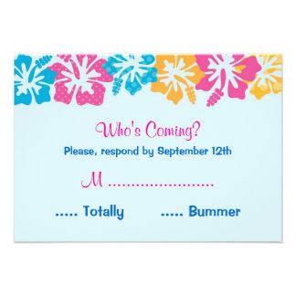Tarjeta de RSVP del dulce dieciséis del hibisco de Invitaciones Personales