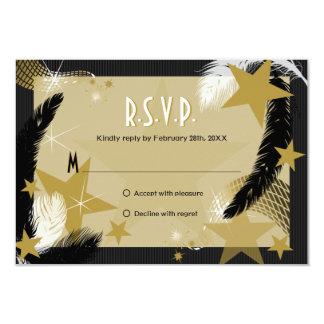 Tarjeta de RSVP del encanto de Hollywood Invitación 8,9 X 12,7 Cm