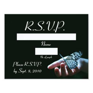 "Tarjeta de RSVP del negro azul de la mariposa Invitación 4.25"" X 5.5"""