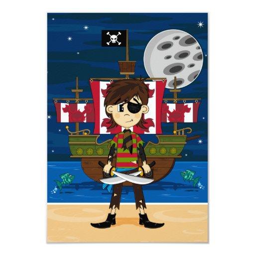 Tarjeta de RSVP del pirata lindo y de la nave Invitación 8,9 X 12,7 Cm