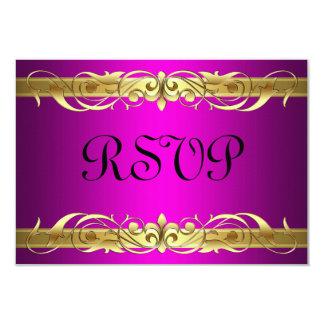"""Tarjeta de RSVP del rosa de la voluta de la grande Invitación 3.5"""" X 5"""""""