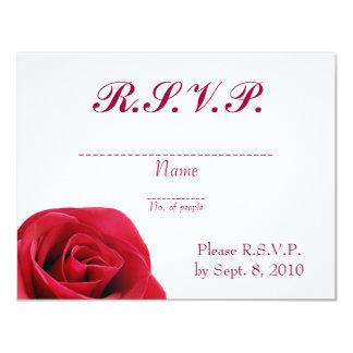 "Tarjeta de RSVP del rosa rojo Invitación 4.25"" X 5.5"""