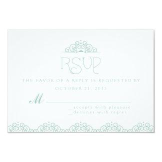 Tarjeta de RSVP del tapetito del cordón en menta Invitación 8,9 X 12,7 Cm