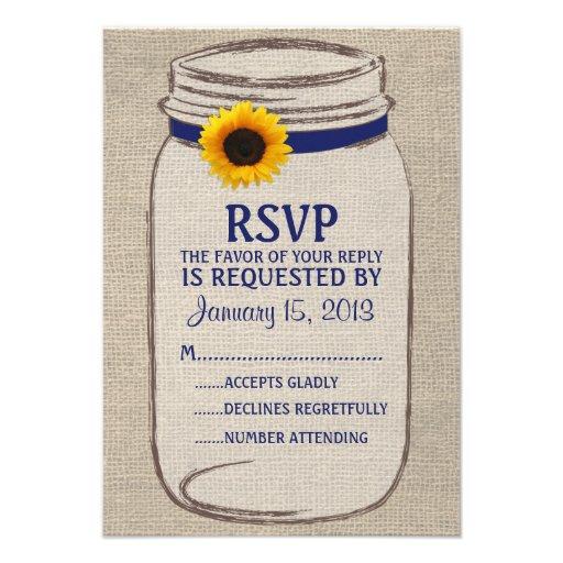 Tarjeta de RSVP del tarro de albañil rústico y de  Anuncio Personalizado