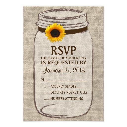 Tarjeta de RSVP del tarro de albañil rústico y de  Invitacion Personal