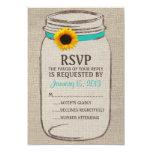Tarjeta de RSVP del tarro de albañil rústico y de Invitación 8,9 X 12,7 Cm