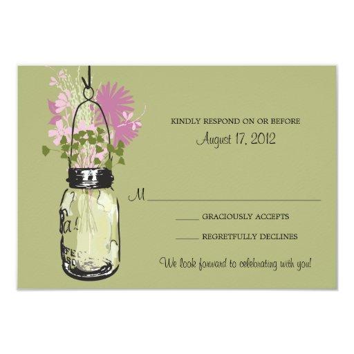 Tarjeta de RSVP del tarro y de los Wildflowers de Invitación 8,9 X 12,7 Cm