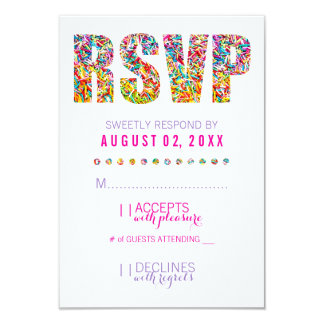 """Tarjeta de RSVP del tema del caramelo Invitación 3.5"""" X 5"""""""