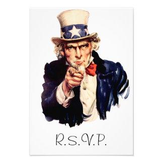 Tarjeta de RSVP del tío Sam Anuncio Personalizado