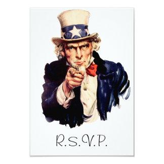 Tarjeta de RSVP del tío Sam Invitación 8,9 X 12,7 Cm