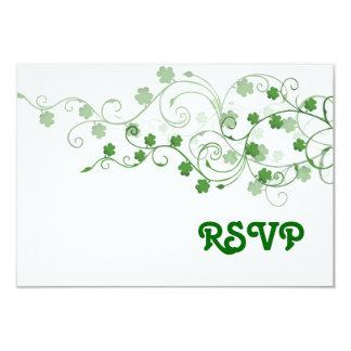 Tarjeta de RSVP del trébol Invitación 8,9 X 12,7 Cm
