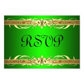 """Tarjeta de RSVP del verde de la voluta de la Invitación 3.5"""" X 5"""""""