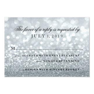 """Tarjeta de RSVP - Lit de plata Glit fabuloso Invitación 3.5"""" X 5"""""""