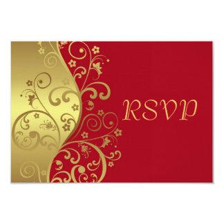 Tarjeta de RSVP--Remolinos del rojo y del oro Invitación 8,9 X 12,7 Cm