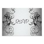 Tarjeta de RSVP todo el floral negro de plata Invitación Personalizada