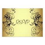 Tarjeta de RSVP todo el negro elegante del oro de Comunicados