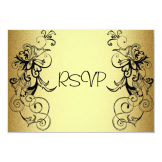 """Tarjeta de RSVP todo el negro elegante del oro de Invitación 3.5"""" X 5"""""""