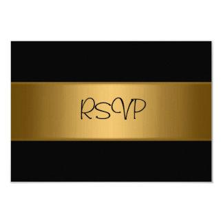 Tarjeta de RSVP todo el oro de bronce negro Invitación