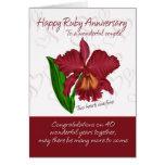 Tarjeta de rubíes del aniversario - 40.a tarjeta d