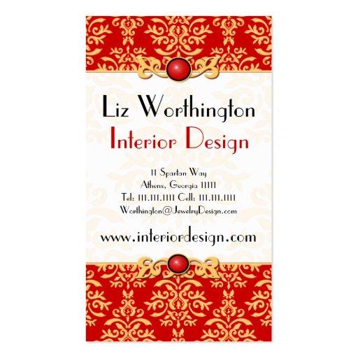 Tarjeta de rubíes del rojo y del oro para la tarjetas de visita