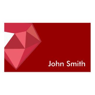 Tarjeta de rubíes roja del perfil de la piedra tarjetas de visita