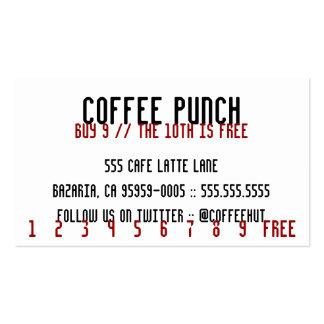 Tarjeta de sacador apretada del café tarjetas de visita
