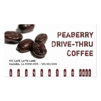Tarjeta de sacador de la bebida del café de Peaber Tarjeta De Visita